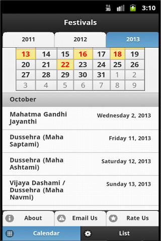 Indian Festivals Calendar - screenshot