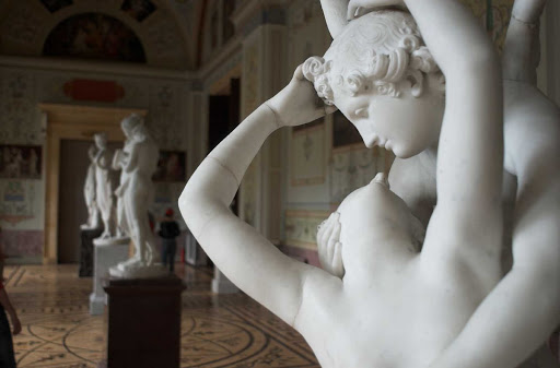 Neoclassical marble sculptures by Antonio Canova at the State Hermitage in St. Petersburg, Russia.