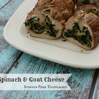 Spinach & Goat Cheese Stuffed Pork Tenderloin.