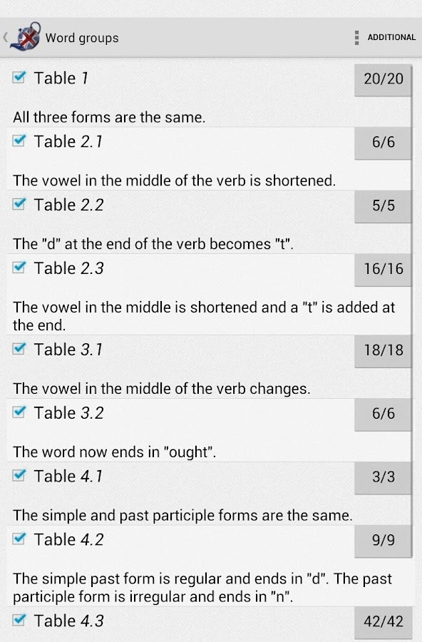 Irregular verbs Pro- screenshot