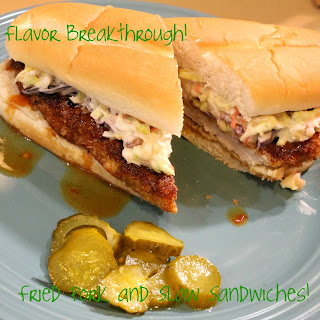 Fried Pork and Slaw Sandwiches!.