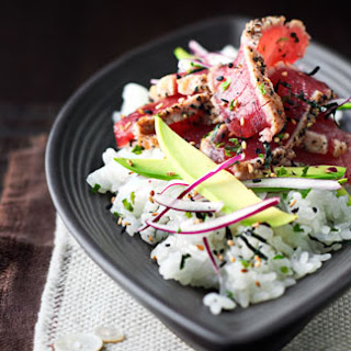 Sushi Salad With Seared Tuna, Avocado And Rice Wine Dressing.
