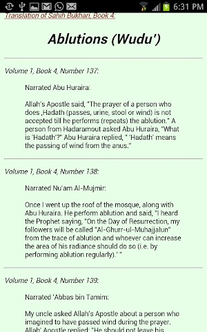 Screenshots for Sahih Bukhari in English