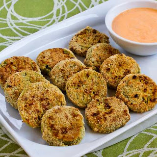 Oven-Fried Green Tomatoes with Sriracha-Ranch Dipping Sauce (Gluten-Free, Low-Carb).