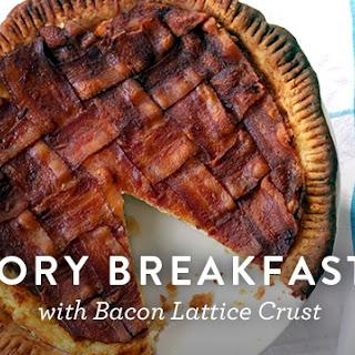 Savory Breakfast Pie with Bacon Lattice Crust.