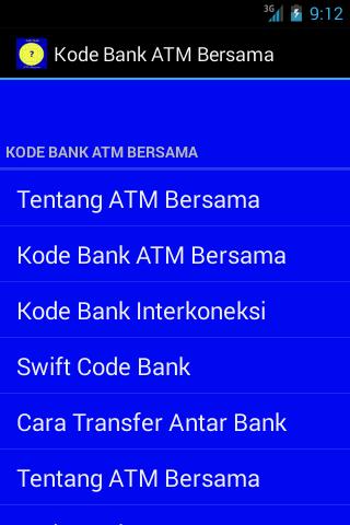 Kode Bank ATM Bersama