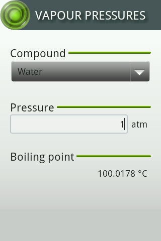 Vapour Pressures- screenshot