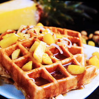 Pineapple Coconut Macadamia Nut Waffles with Pineapple Coconut Syrup Recipe