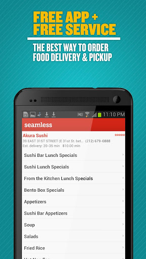 Seamless Food Delivery Takeout