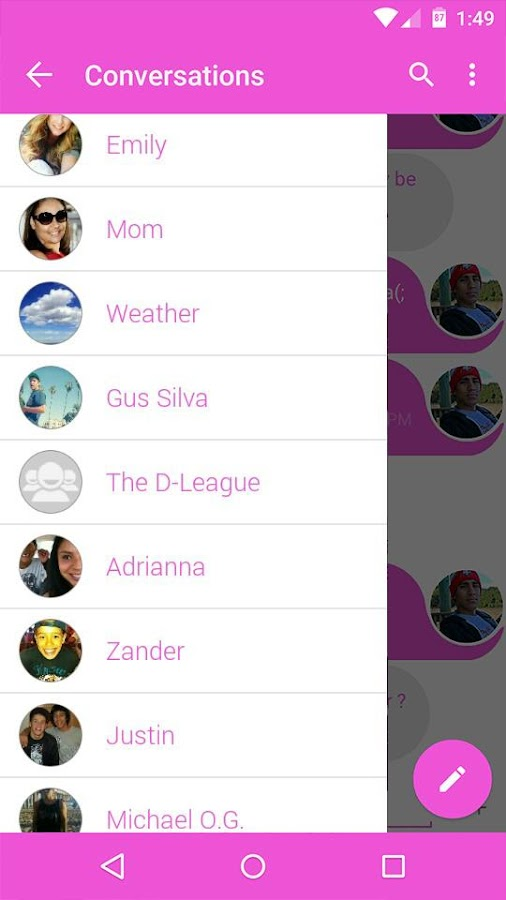 Evolve SMS Theme - Pink Dip - screenshot