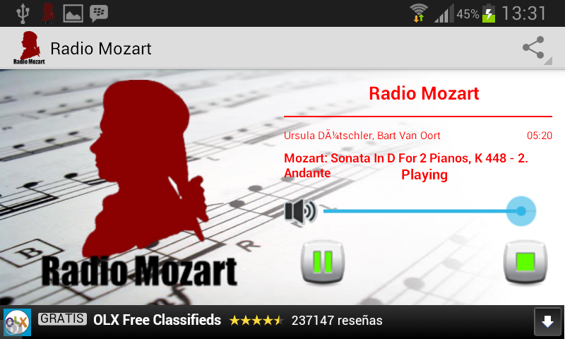 Radio Mozart – Capture d'écran
