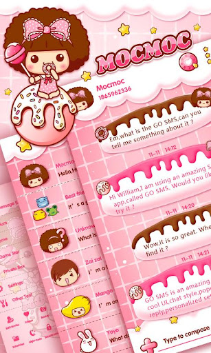 GO SMS LOVE CANDY MOCMOC THEME