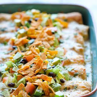 White Chicken Enchiladas with Green Chile Sour Cream Sauce.