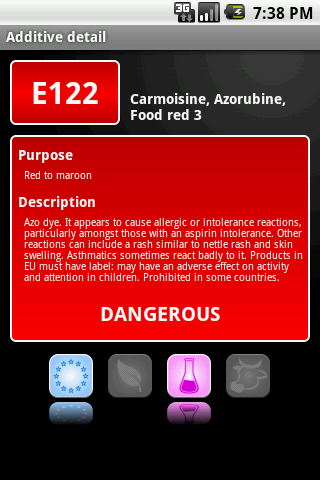 E-inspect Food additives - screenshot