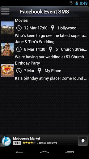 Facebook Event SMS Invite
