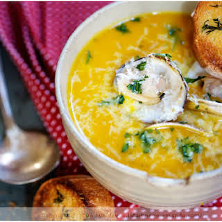 Curried Winter Squash Soup with Red Lentil, Coconut Milk and Clams.