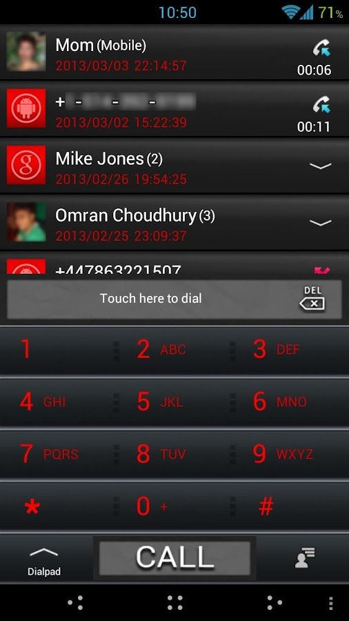 GO Contacts ICS Black Theme - screenshot