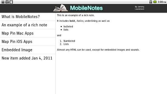 MobileNotes screenshot
