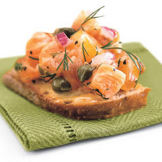Dilled Salmon Tartare on Whole Grain Bread.