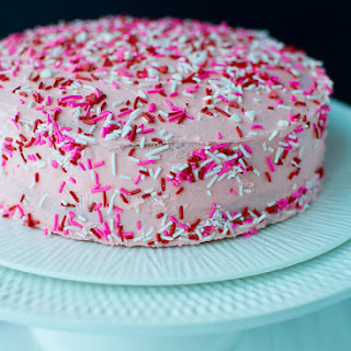 Pink Funfetti Cake For Valentine's Day.