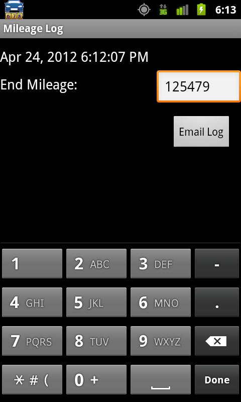 Mileage Log - screenshot