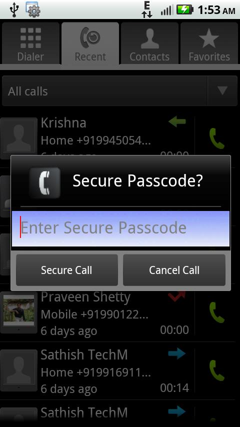 Password Protect For Calls - screenshot