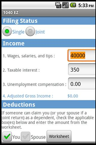 Federal Tax 1040EZ - screenshot