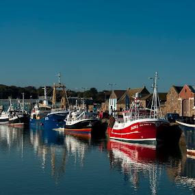 West Pier in the morning by Jacek Steplewski - Transportation Boats ( port, water reflection, reflection, boats, harbour, pier, ships )
