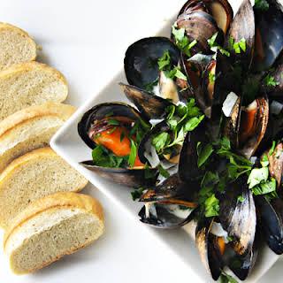 Steamed Mussels in Beer Cream Broth.