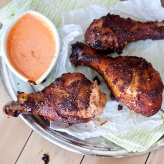 Baked Brown Sugar Chicken Wings With Roasted Red Pepper Cream Sauce.