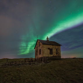 The Aurora Borealis and The Old Cottage  by Guðmundur Hjörtur - Landscapes Starscapes ( iceland, cottage, aurora borealis, northern lights )