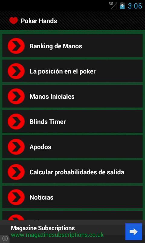Lista mejores manos poker