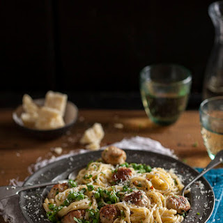 Sausage and Pea Carbonara Recipe