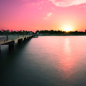 The Sunset by Hany Todros - Landscapes Waterscapes ( red, sunset, sea, hany todros, ain sokhna, beach, sun, egypt )