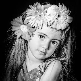 3 petites fleurs by Nathalie Gemy - Babies & Children Child Portraits ( black and white, children, child portrait, flower, flower girl, kids portrait )