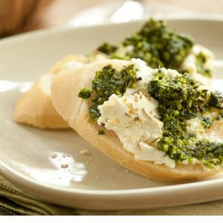 Baked Feta with Kale Pesto on Baguette