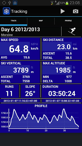 Ski Tracks Main App Screenshot