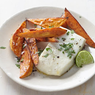 Halibut with Sweet Potato Fries and Lime.
