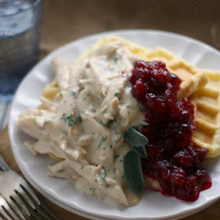 Herbed Turkey over Cornbread Waffles w/ Cranberry Sauce