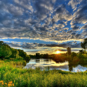 The Perfect Night by Dave Knapp - Landscapes Sunsets & Sunrises ( sunset, reflections flowers, pond, skies, Spring, springtime, outdoors )