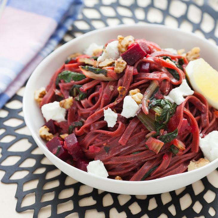 Fresh Beet Pasta with Swiss Chard, Goat Cheese & Walnuts Recipe