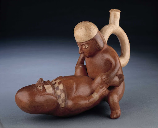 Sculptural ceramic ceremonial vessel that represents sexual union of a man and a woman ML004214