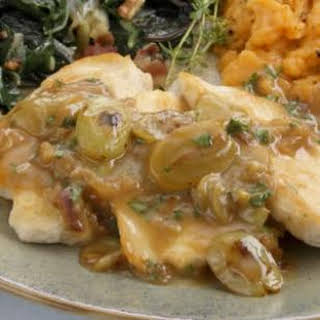 Chicken Cutlets with Grape-Shallot Sauce.
