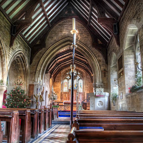 Lower Slaughter Church on Christmas Day by Laura Prieto - Buildings & Architecture Places of Worship ( chritsmas tree, church, christmas, interior photography, anglican, worship, cotswolds )