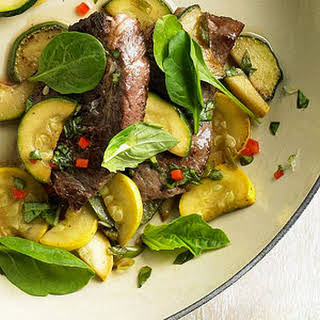 Sizzling Steak with Lime Basil Sauce.