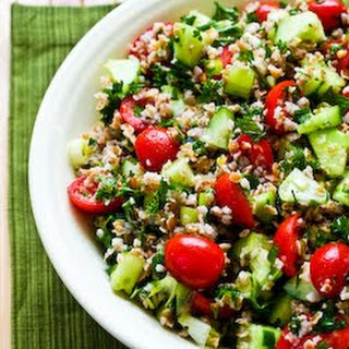 Bulgur Salad with Tomatoes, Cucumbers, Parsley, Mint, and Lemon.