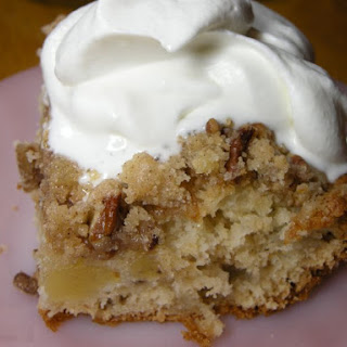 Good N Easy Cake with Homemade Whipped Cream.