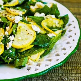 Raw Summer Squash Salad with Arugula, Feta, and Herbs.