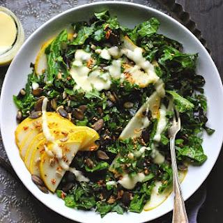 Kale Salad with Tamari Toasted Seeds + Fresh Pear Vinaigrette