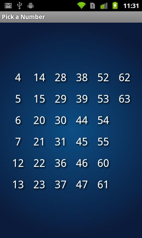 Pick a number magic - screenshot